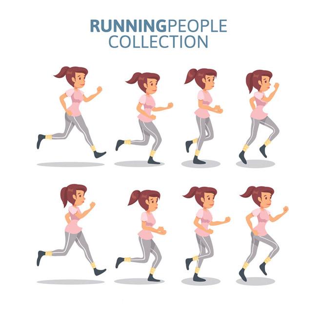 卡通动漫女生跑步运动的各种动作分解设计