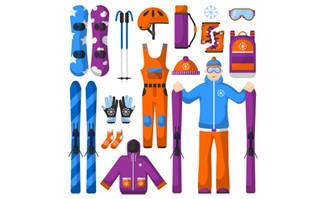 手绘冬季滑雪运动项目的