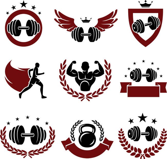 健身房标志设计  卡通矢量健身运动品牌标志设计  哑铃  健身运动项目
