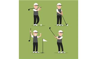 打高尔夫球的卡通动漫男