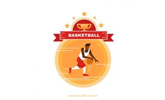篮球运动员正在运球的动