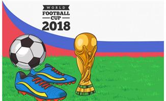 手绘世界杯背景球鞋奖杯