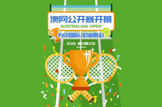 澳网赛事创意海报模板设计素材 澳网公开赛开幕网球比赛扁平加油