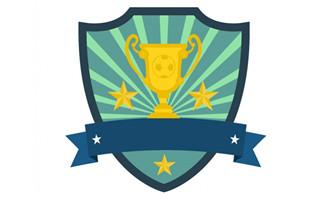 比赛奖杯与盾牌组合海报