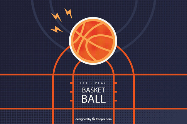 篮球场背景设计矢量素材下载 扁平化投进篮筐里的篮球矢量图  矢量