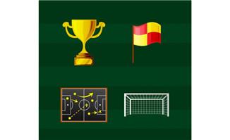 足球主题元素图标奖杯球