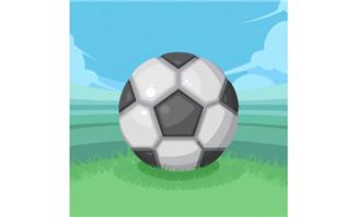 手绘海报足球在草坪的视