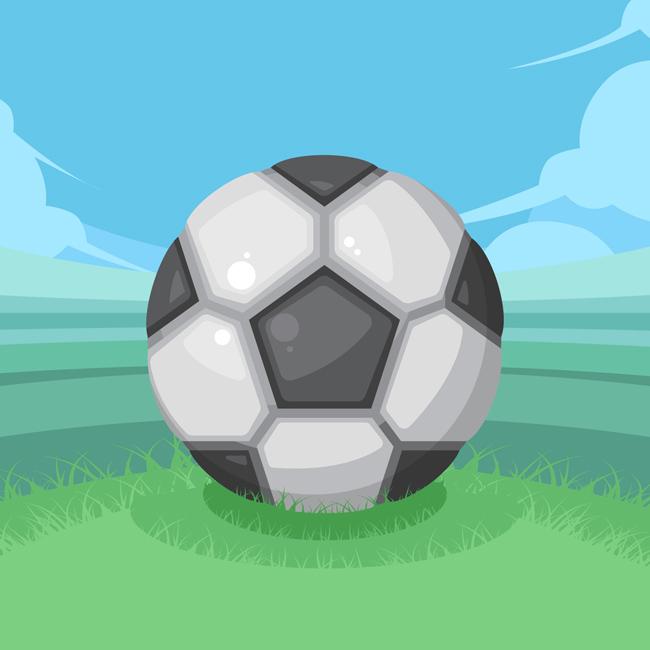 手绘海报足球在草坪的视角设计素材