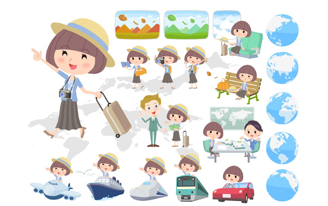 可爱卡通女孩旅行矢量图 扁平化卡通动漫人物形象设计素材下载图片