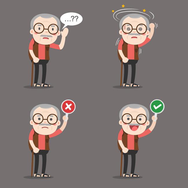 mg动画人设老人形象不同表情设计素材