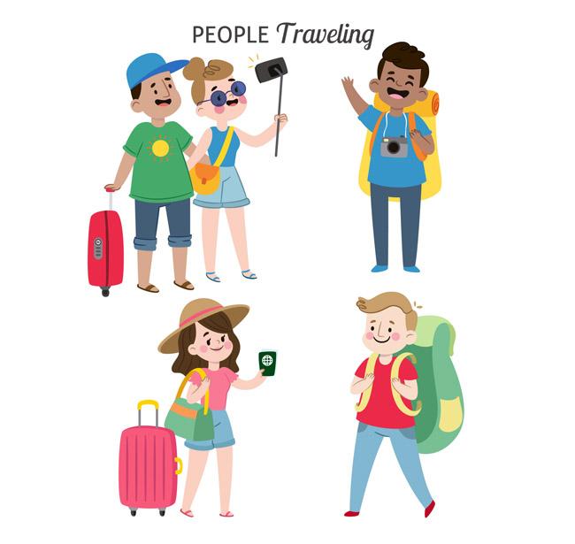 四组卡通扁平化年轻男女旅游的表情动作图片