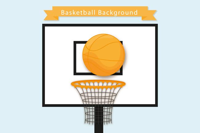 球篮  篮球框  篮板  扁平化篮球海报设计素材下载