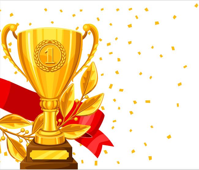 荣誉证书金色奖杯周围的彩带组合 红色飘带奖杯  金色纸  庆祝时候