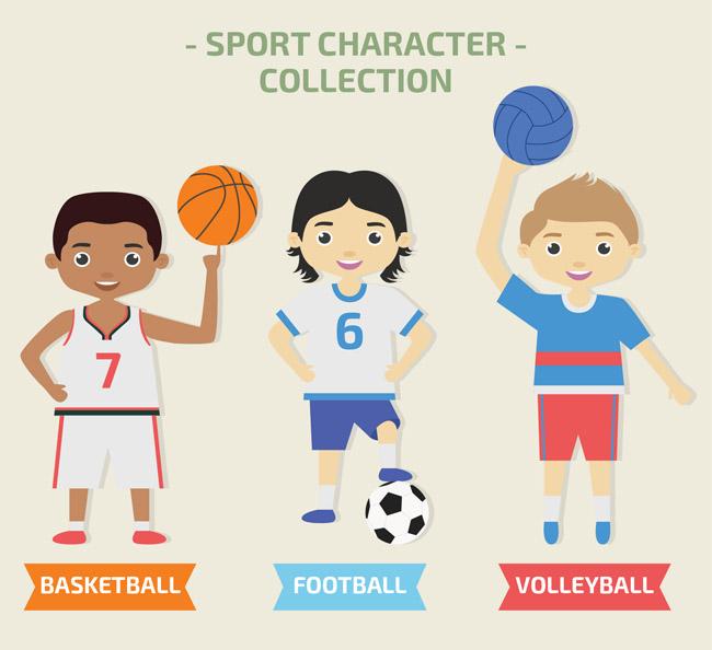 卡通矢量足球运动员人物  扁平化卡通儿童足球爱好者人设素材下载