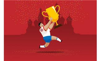 卡通动漫足球运动员抱着