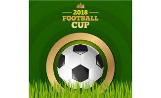 绿色背景足球主题海报设