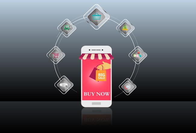 手机商城手机购物界面设计矢量素材下载_漫品购_mg_源