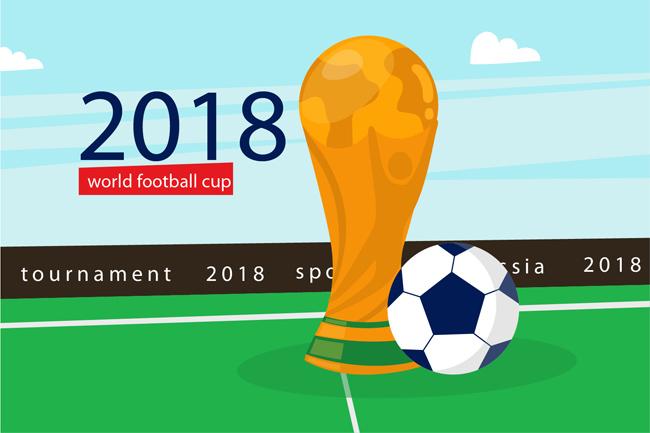 详细描述   足球大力神杯足球主题海报设计矢量素材 矢量足球场奖杯