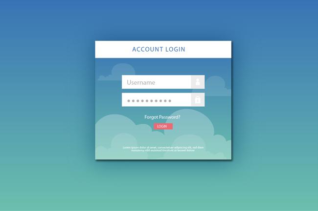 蓝色梦幻背景的注册界面设计素材