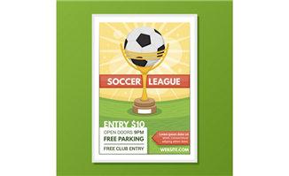 足球奖杯海报设计矢量素