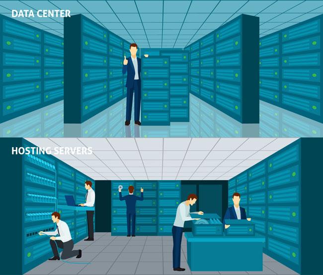 主页 矢量文件 矢量人物 > 互联网电脑主机数据服务中心机房  热门