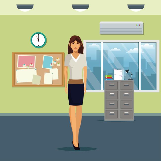 办公室里面职业女性卡通形象设计矢量素材