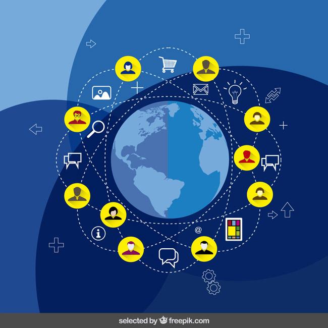 蓝色互联网创意地球网页图标矢量素材