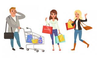 超市购物的卡通动漫人物