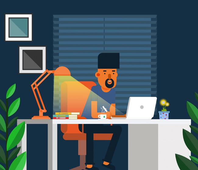 在家加班忙碌中的设计师场景设计素材下载