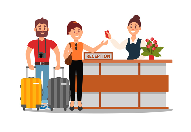 情侣出去旅游入住酒店的场景设计素材_漫品购_mg动画