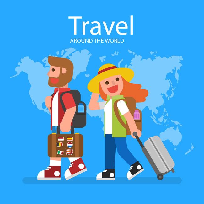 世界地图背景前面背着背包出行旅游的卡通人物