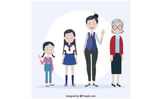 小女孩学生老师老太太形