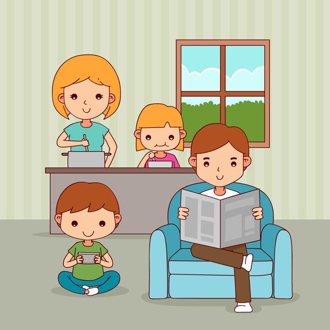 手绘漫画爸爸看报纸儿子玩游戏的场景设计