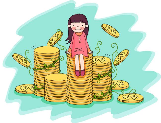 手绘漫画坐拥金山背景设计矢量素材  手绘漫画金币  金钱背景设计