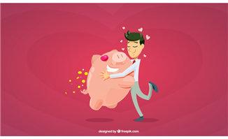 抱着存储钱猪的卡通商务