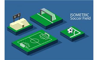 立体模型的三维足球场设计矢量素材
