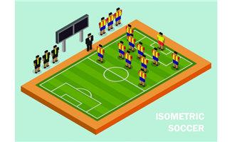 模拟足球运动的运动员布
