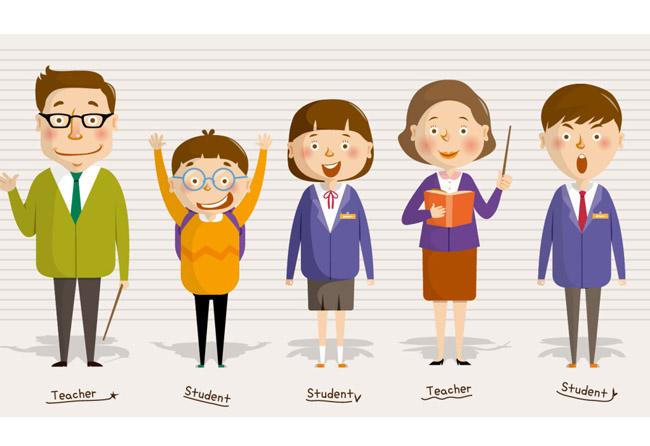 手绘动漫卡通老师与学生的形象设计素材