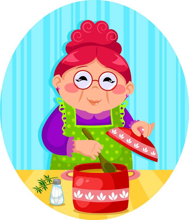 漫画版老奶奶正在熬汤的场景设计素材 在厨房忙前忙后的老人  老
