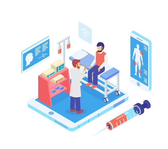 等距立体卡通医生图片素材  针管  血液检查  医务室场景设计素材下载