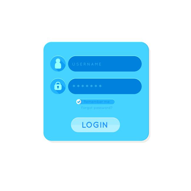 简约蓝色移动端登录页面  蓝色会员登录ui图标设计矢量素材下载