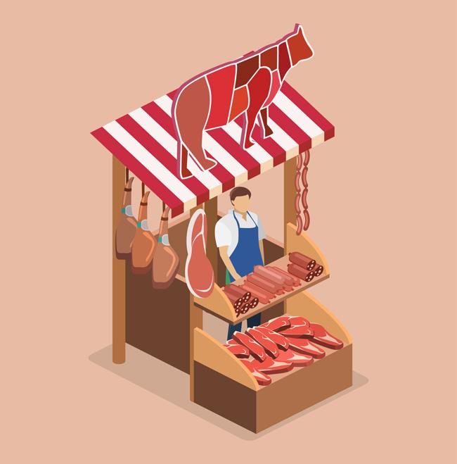 卖牛肉的小卖铺货架摊位场景设计图片