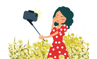 小女孩在花丛中自拍留影