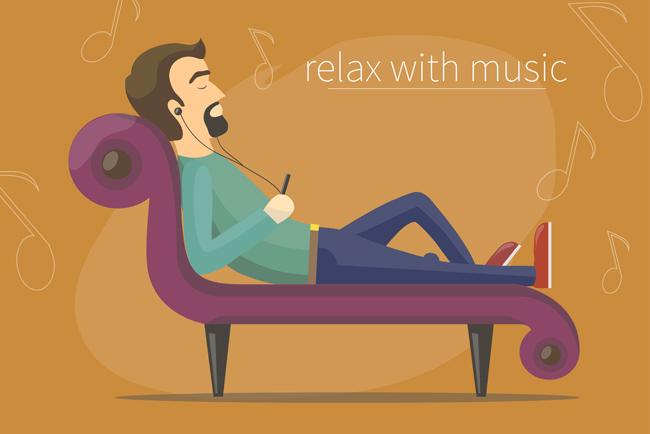 卡通动漫男子在沙发上躺着听音乐享受的表情