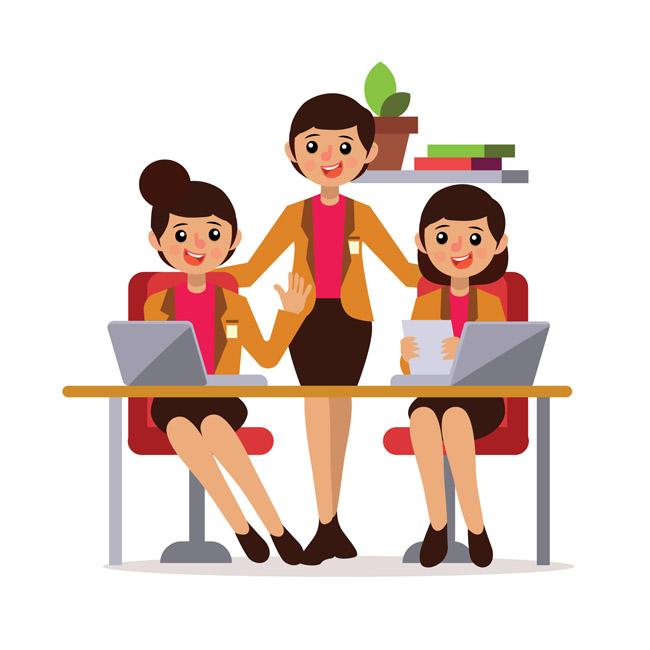 卡通三个女性商务职业女性形象设计素材图片