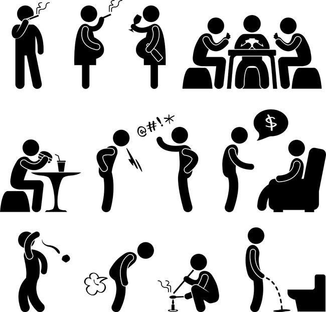 主页 矢量文件 矢量人物 > 黑白漫画人物各种生活场景动作设计素材
