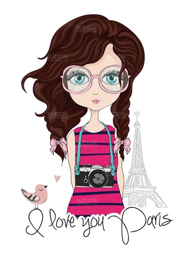 时尚卡通女性设计矢量素材  手绘漫画人物形象设计素材下载