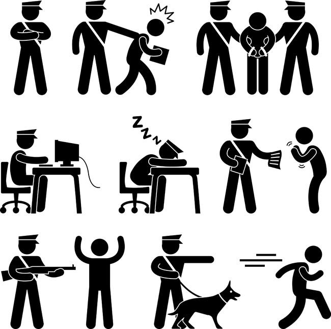 漫画人黑白动作人物v漫画火柴执行警察的任务弹奏的漫画未你图片