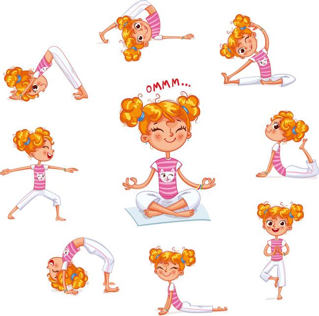 漫画小女孩练瑜伽各种动作设计素材
