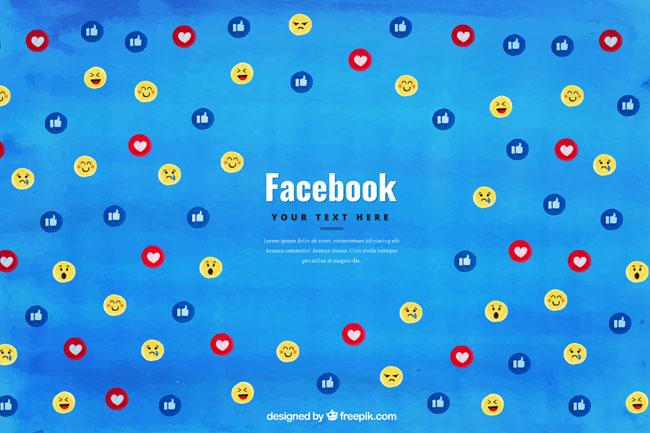 脸谱app蓝色背景图标设计矢量素材